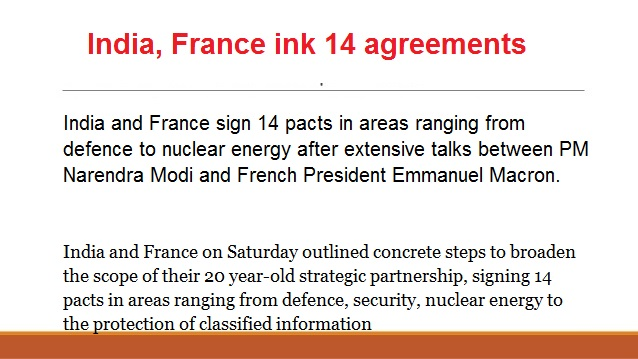 ias-coaching-centres-bangalore-hyderabad-pragnya-ias-academy-current-affairs-India-France-agreements