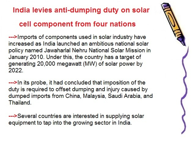 ias-coaching-centres-bangalore-hyderabad-pragnya-ias-academy-current-affairs-India-levies-anti-dumping-solar